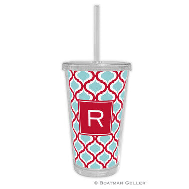 Kate Red & Teal Beverage Tumbler