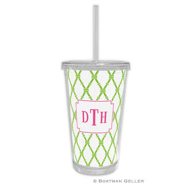 Bamboo Green & Raspberry Beverage Tumbler
