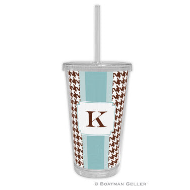 Alex Houndstooth Chocolate Beverage Tumbler