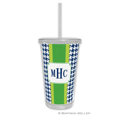 Alex Houndstooth Navy Beverage Tumbler