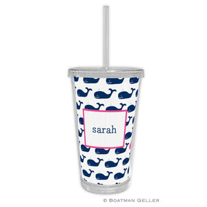 Whale Repeat Navy Beverage Tumbler
