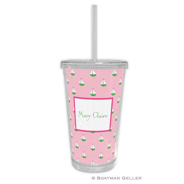 Little Sailboat Pink Beverage Tumbler