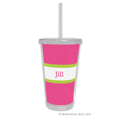 Stripe Raspberry & Lime Beverage Tumbler