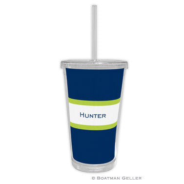 Stripe Navy & Lime Beverage Tumbler