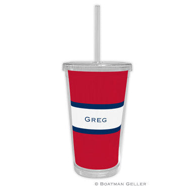 Stripe Red & Navy Beverage Tumbler