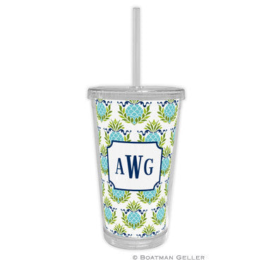 Pineapple Repeat Teal Beverage Tumbler