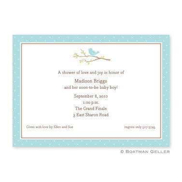 Bird on a Branch Blue Flat Notecard