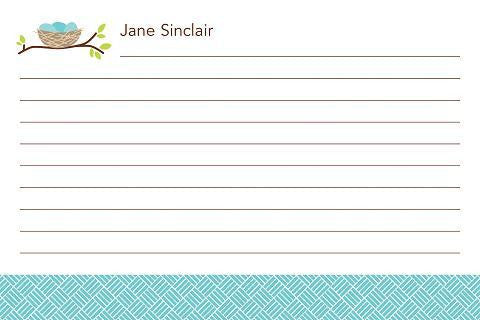 Monogrammed Bird Nest Basketweave Recipe Cards