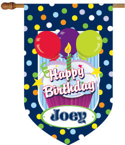 Monogrammed Birthday Boy House Flag