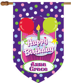 Monogrammed Birthday Girl House Flag