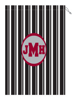 Monogrammed Black & White Striped Laundry Bag