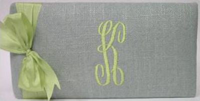 Monogrammed Blue Linen with Lime Album