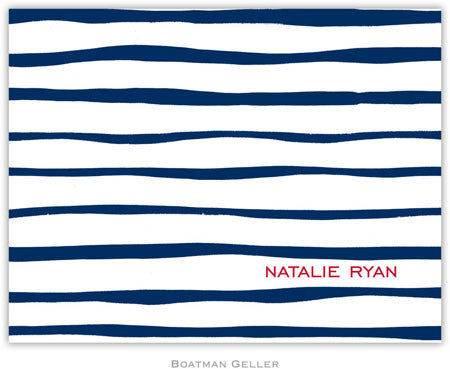 Brush Stripe Navy Foldover Note