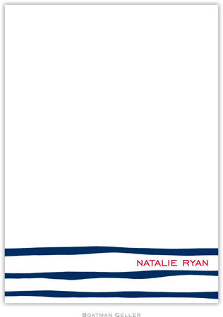 Brush Stripe Navy Flat Notecard