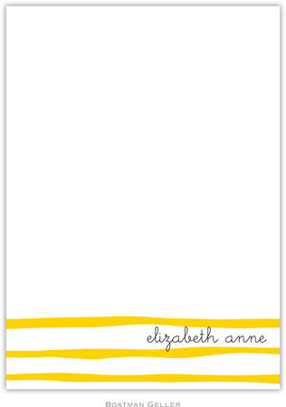 Brush Stripe Yellow Flat Notecard