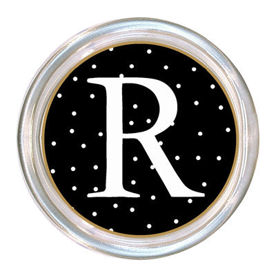 Monogrammed Black & White Tiny Dot Coaster