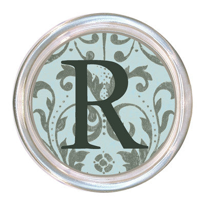 Monogrammed Aqua and Silver Damask Coaster