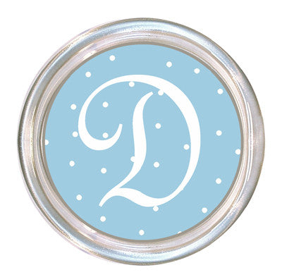 Monogrammed Baby Blue Dot Coaster