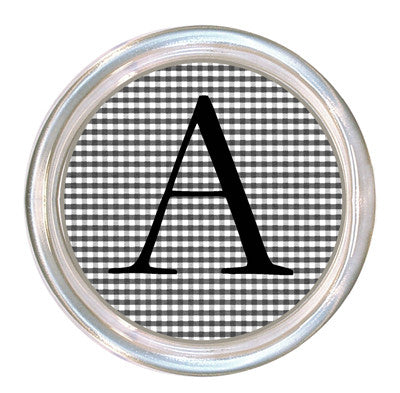 Monogrammed Black & White Gingham Coaster