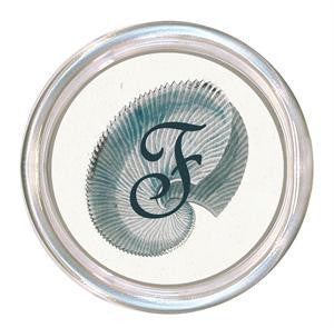 Monogrammed Blue Shell Coaster