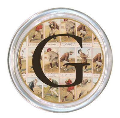 Monogrammed Antique Golfers Coaster