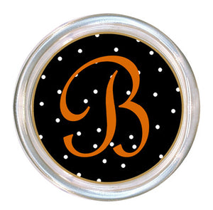Monogrammed Black Halloween Dot Coaster