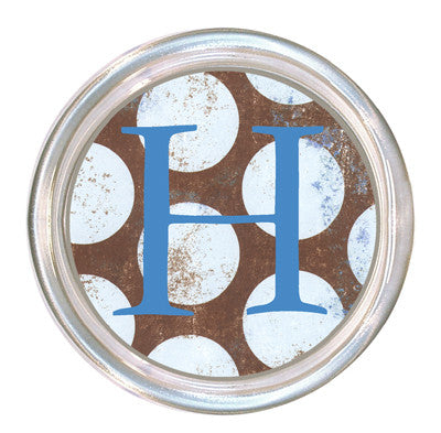 Monogrammed Distressed Blue Dots Coaster