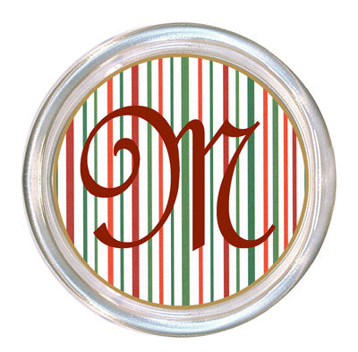 Monogrammed Thin Christmas Stripe Coaster