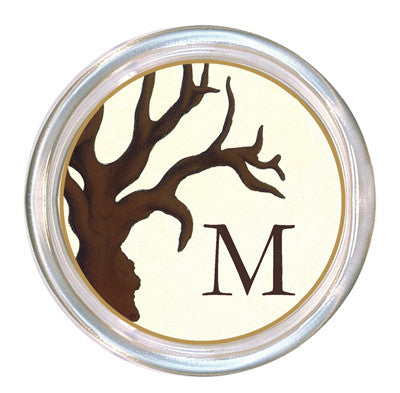 Monogrammed Brown Coral Coaster