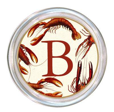 Monogrammed Antique Lobsters Coaster
