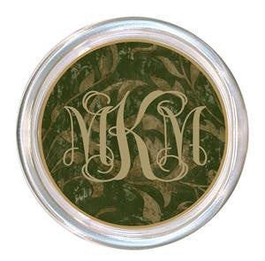 Monogrammed Green Damask Coaster