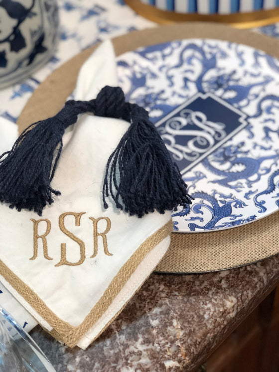 Burlap Trim Monogrammed Napkins/set of 4