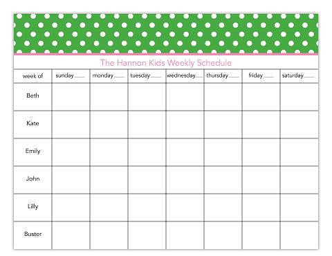 Dot Green Calendar Pads