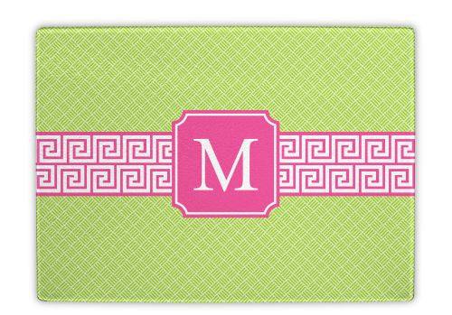 Greek Key Band Pink Glass Cutting Board