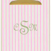 Personalized Pink & Green Striped Clipboard