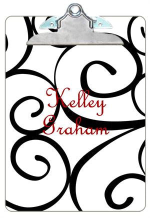 Personalized White Curly Q's Clipboard