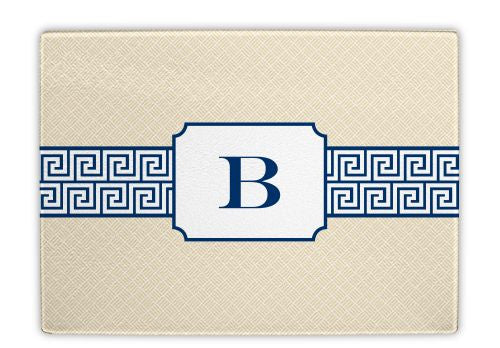 Greek Key Band Navy Glass Cutting Board