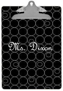 Personalized White Circles on Black Clipboard