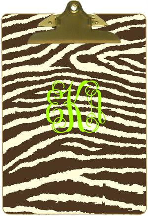 Personalized Brown & Creme Zebra Clipboard