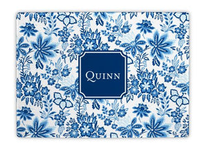Classic Floral Blue Glass Cutting Board