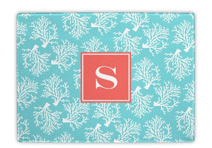 Coral Repeat Teal Glass Cutting Board