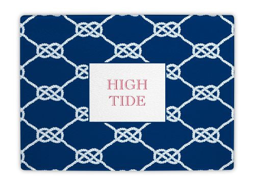Nautical Knot Navy Glass Cutting Board
