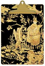Black & Gold Asian Toile Clipboard