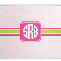 Seersucker Band Pink and Green Glass Cutting Board