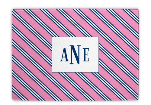 Repp Tie Pink and Navy Glass Cutting Board