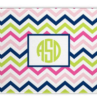 Chevron Pink, Navy, and Lime Glass Cutting Board