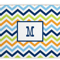 Chevron Blue, Orange, and Lime Glass Cutting Board