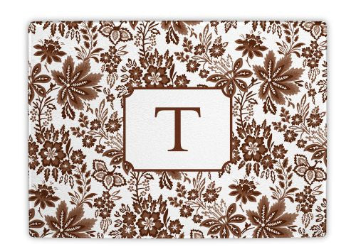 Classic Floral Brown Glass Cutting Board