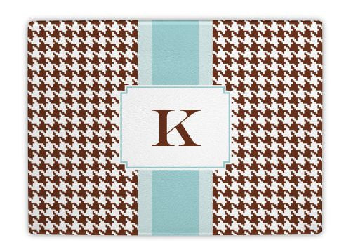 Alex Houndstooth Chocolate Glass Cutting Board