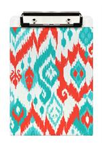 Coral & Turquoise Ikat Clipboard